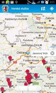 Okolní lyžařská střediska na mapě