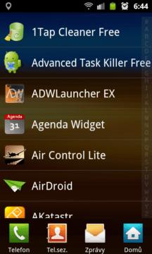 Zobrazení seznamu aplikací v režimu seznam
