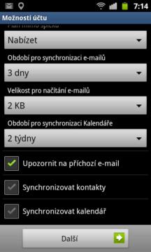 Telefon podporuje ve spolupráci s Exchange serverem nejen synchronizaci pošty, ale volitelně také kontaktů a kalendářů