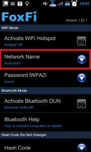 Otevřete volbu Network Name.