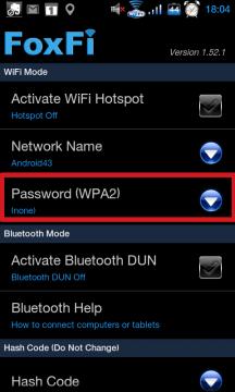 Pod položkou Password (WPA2) můžete nastavit heslo.