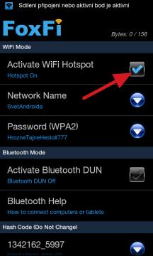 Zatržítko Activate WiFi Hotspot zahájí Wi-Fi tethering