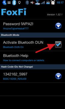 Zatržítkem Activate Bluetooth DUN zapnete tethering přes BT
