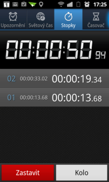 Stopky umí měřit čas v jednotlivých kolech