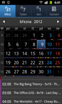 Měsíční pohled na kalendář s náhledy úkolů pro zvolený den