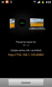 Po spuštění programu Kies Air se zobrazí IP adresa a port, kterou zadáte do  prohlížeče na PC.