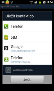 Nový kontakt lze uložit do telefonu, na SIM kartu, nebo do adresáře na GMailu.