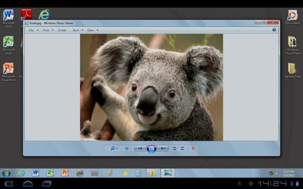 """OnLive Desktop – Windows 7 podporuje multi-dotykové ovládání, """"štípnutím"""" je možno měnit měřítko pro zobrazení"""