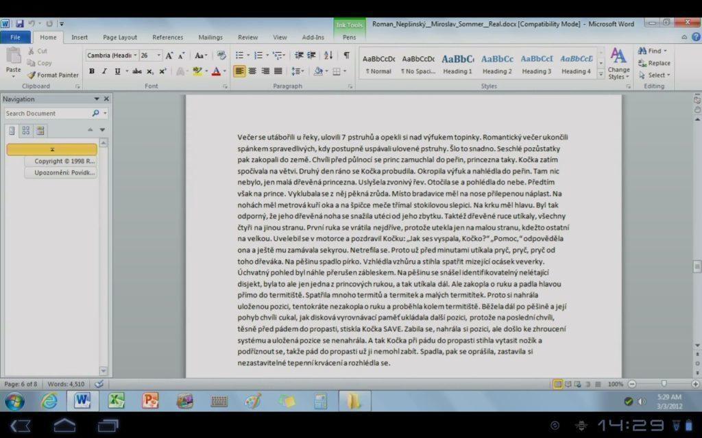 Plynule editovatelný dokument ve Wordu