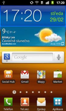 Úvodní domovská obrazovka