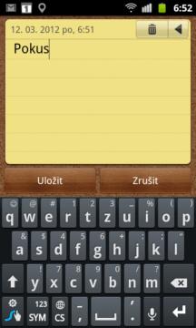 Jednoduchý zápisník pro uložení rychlých poznámek