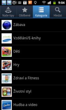 Zobrazení aplikací podle kategorií