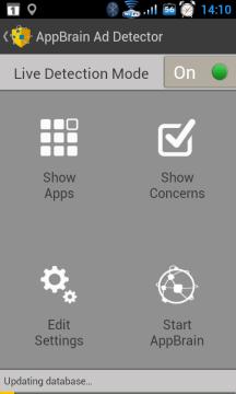 Úvodní obrazovka aplikace AppBrain Ad Detector