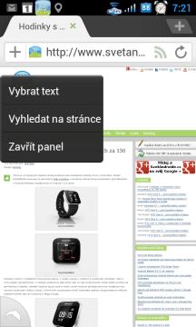Dlouhé tapnutí na stránce vyvolá kontextové menu.