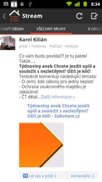 Přes Google+ můžete sdílet obsah s ostatními uživateli