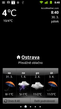 Hodiny s předpovědí zobrazují aktuální počasí a zjednodušenou předpověď