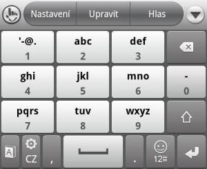 Klávesnice TouchPal v rozložení 4 x 3
