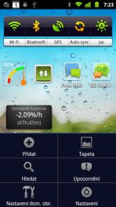 Stiskem tlačítka Menu na domovské obrazovce se zobrazí nabídka se šesti položkami