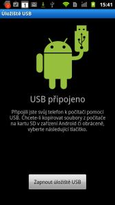 Telefon lze připojit v režimu úložiště