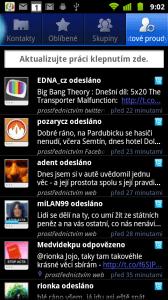 Také v případě Twitteru jsou příspěvky zobrazovány v aplikaci Datové proudy
