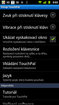 Nastavení klávesnice TouchPal
