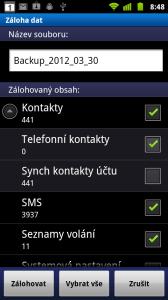 Zálohovány jsou kontakty, SMSky, seznamy volání, systémová nastavení, budíky, záložky v prohlížeči a další
