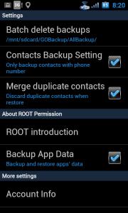 GO Backup - možnosti nastavení