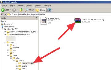 Staženou ROMku zkopírujte do složky original_update