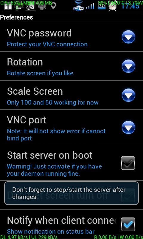 Android vnc server xda
