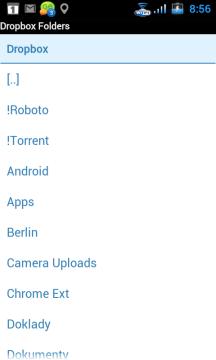Na následující obrazovce můžete vidět vaše adresáře v Dropboxu