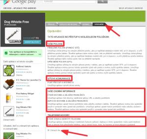 Podrobnější popisky požadovaných oprávnění najdete ve webové verzi Obchodu Play.