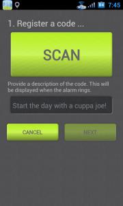 Žádost o nasnímání kódu, jež bude vyžadován k vypnutí budíku