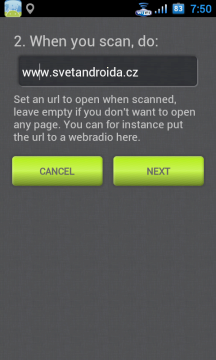 Ve druhém kroku pak nastavíte webovou stránku, která se má otevřít po úspěšném ukončení buzení