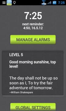 Na úvodní obrazovce vidíte nastavení nejbližšího budíku a tlačítko pro správu nastavených buzení