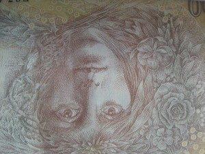 Ukázka fotografie bankovky v režimu makro