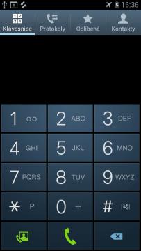 Klávesnice pro zadávání čísel a vytáčení.