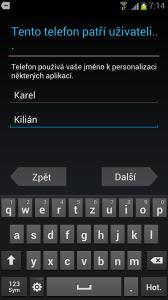 Vyplnění jména a příjmení majitele telefonu