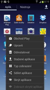 Nabídka seznamu aplikací