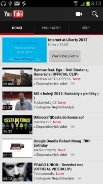 Aplikace Youtube samozřejmě nesmí chybět