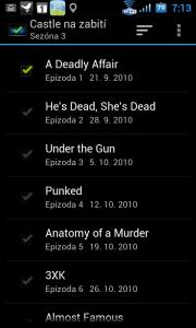Epizody, které jste viděli, můžete jednoduše přímo v seznamu označit zaškrtnutím zatržítek vedle nich