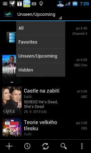 Filtrování seznamu seriálů - všechny/jen oblíbené/ty, ze kterých jste neviděli všechny epizody/skryté.