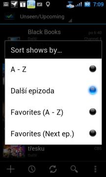 Řadit je možné podle abecedy, času vysílání následující epizody, případně řadit dle těchto kritérií jen oblíbené seriály.