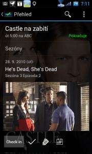 Po otevření seriálu se zobrazí nejbližší nezhlédnutý díl, termín jeho vysílání, název epizody, a kanál, kde bude vysílána. Následuje ilustrační snímek z příslušného dílu.