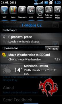 Aktuální počasí je v notifikační liště stále na očích
