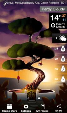Úvodní stránka s animací stromu a aktuálním počasím