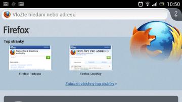 Úvodní obrazovka nového Firefoxu