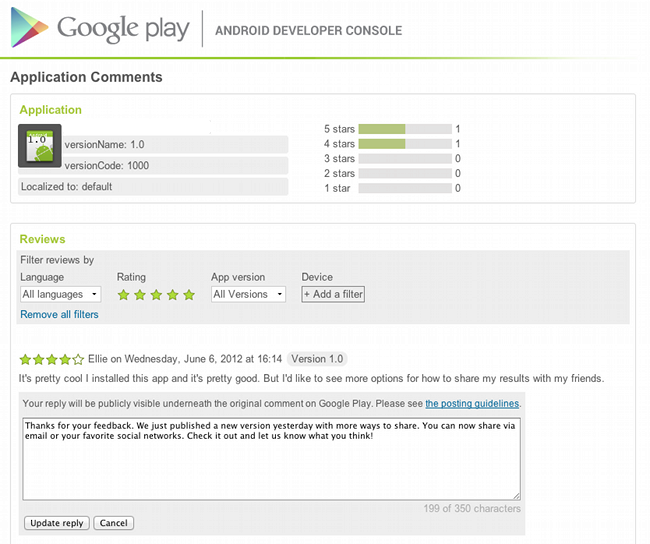 Google Play developer comments android