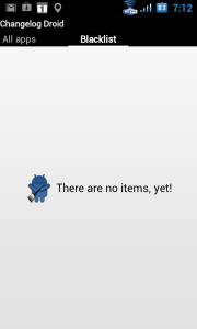 Seznam aplikací, u kterých nechcete být informováni o změnách v posledních verzích či dostupných aktualizacích.