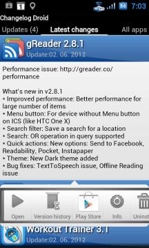 Tapnutím na vybranou aplikaci vyvoláte plovoucí menu.