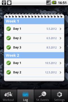 Záznamy tréninků jednotlivých dnů